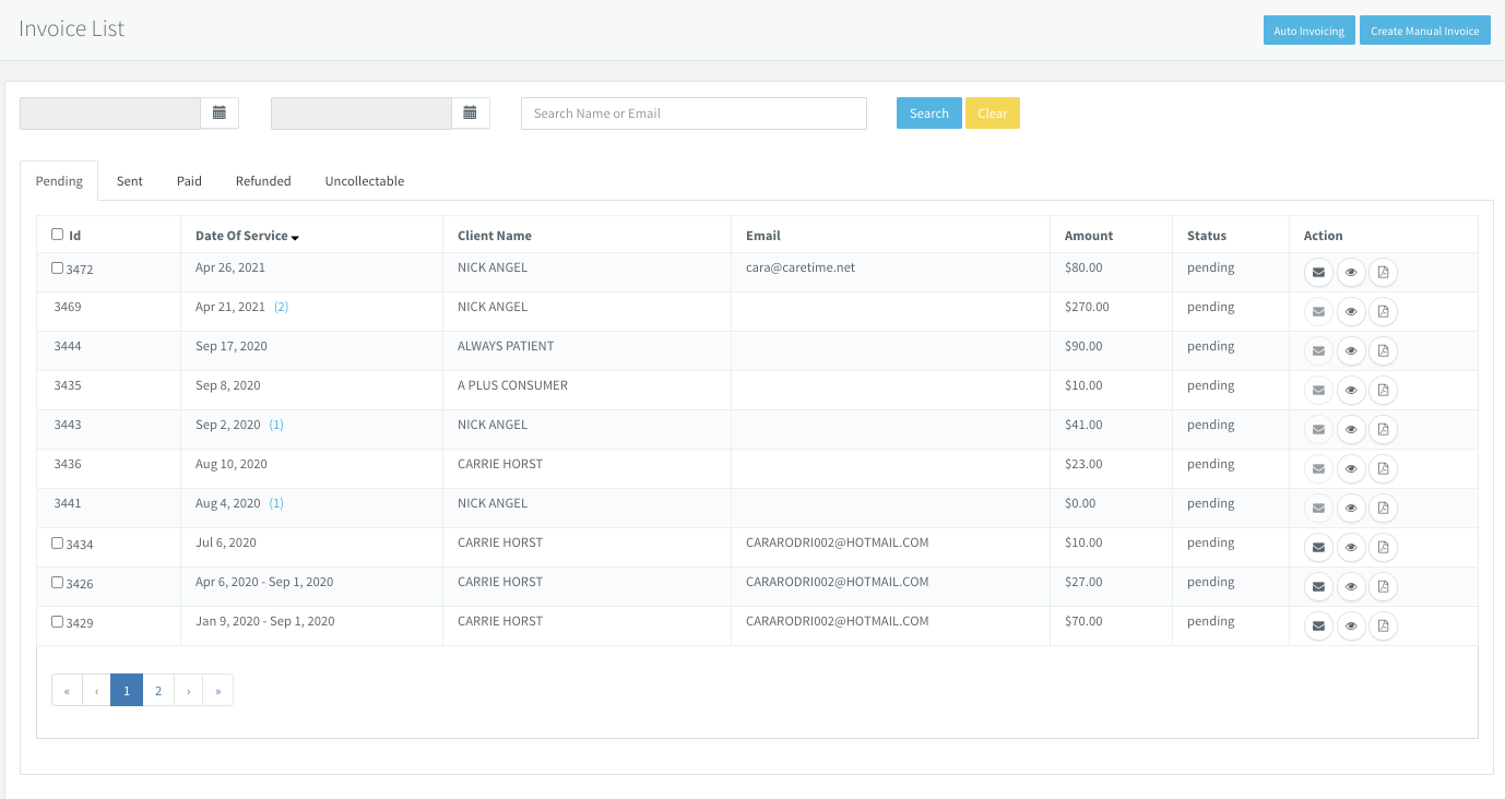 Screenshot of CareTIme payment processing dashboard